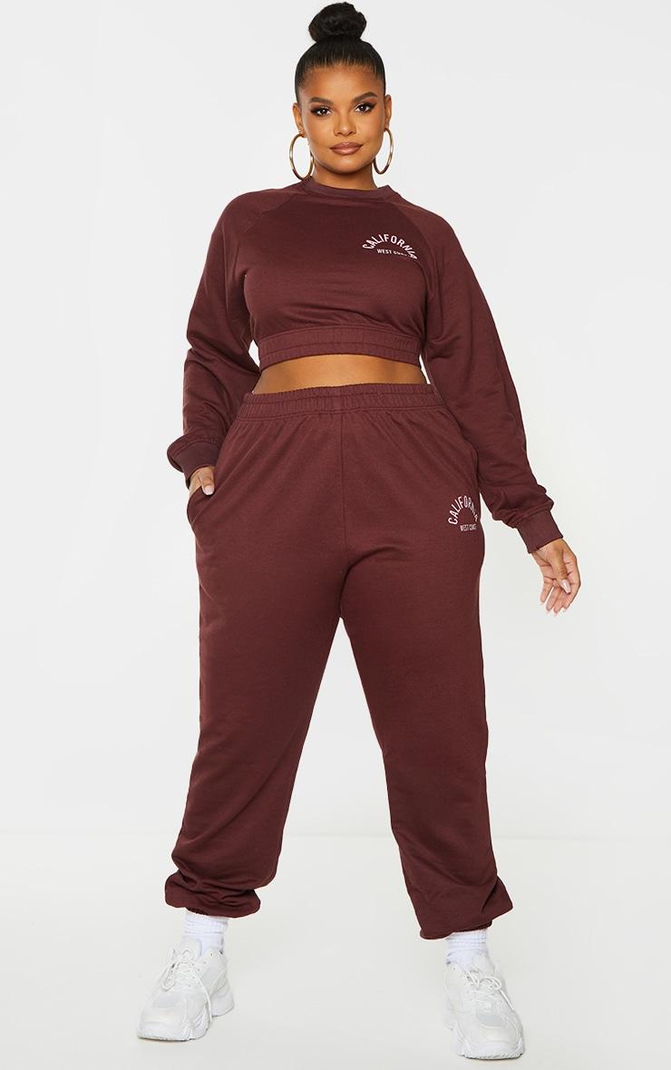 Plus Chocolate Brown California Print Sweatshirt 3