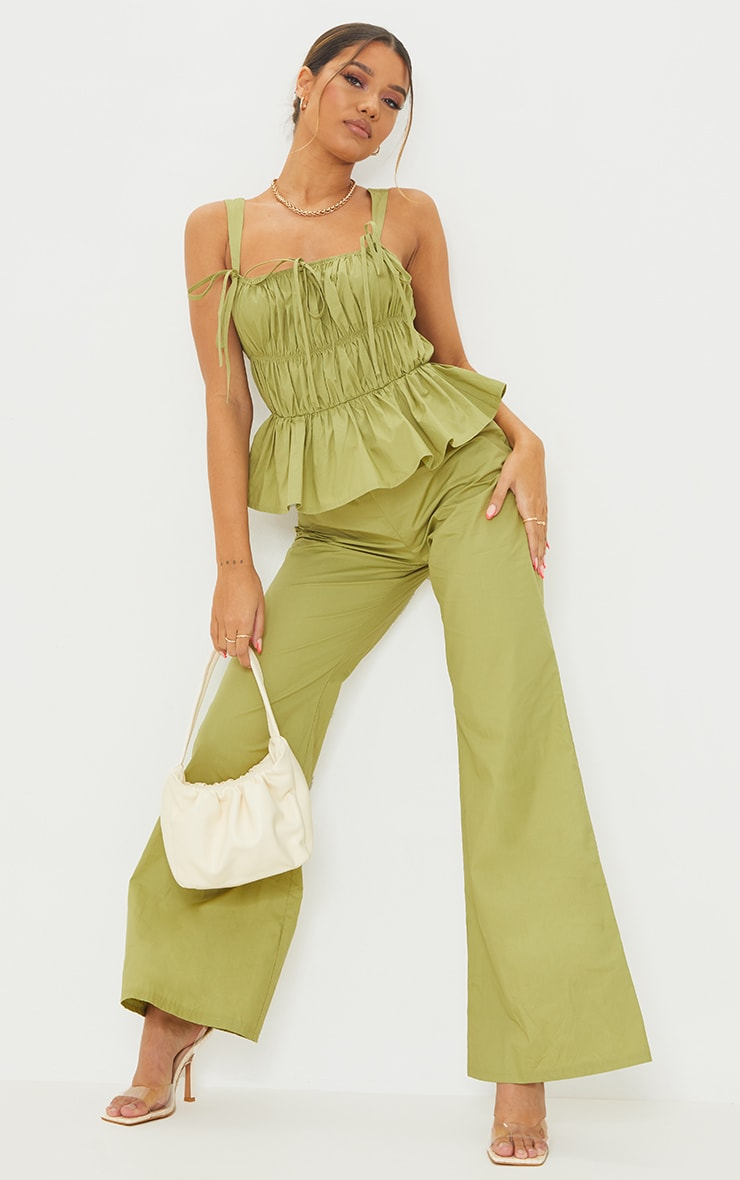 Khaki Ruched Bust Strappy Peplum Jumpsuit 1
