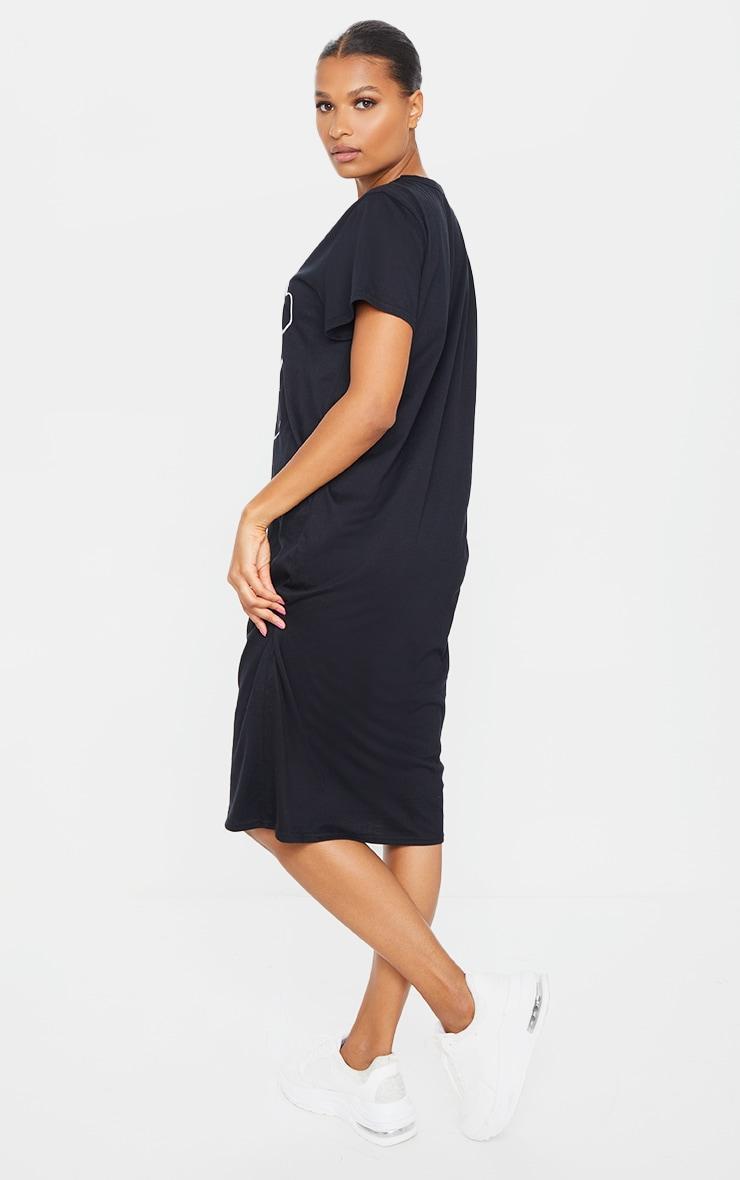 Black Abstract Faces Slogan Midi T Shirt Dress 2