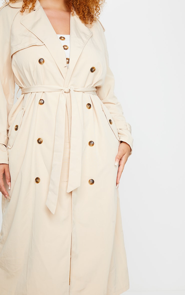 Plus Stone Oversized Button Down Trench Coat 4