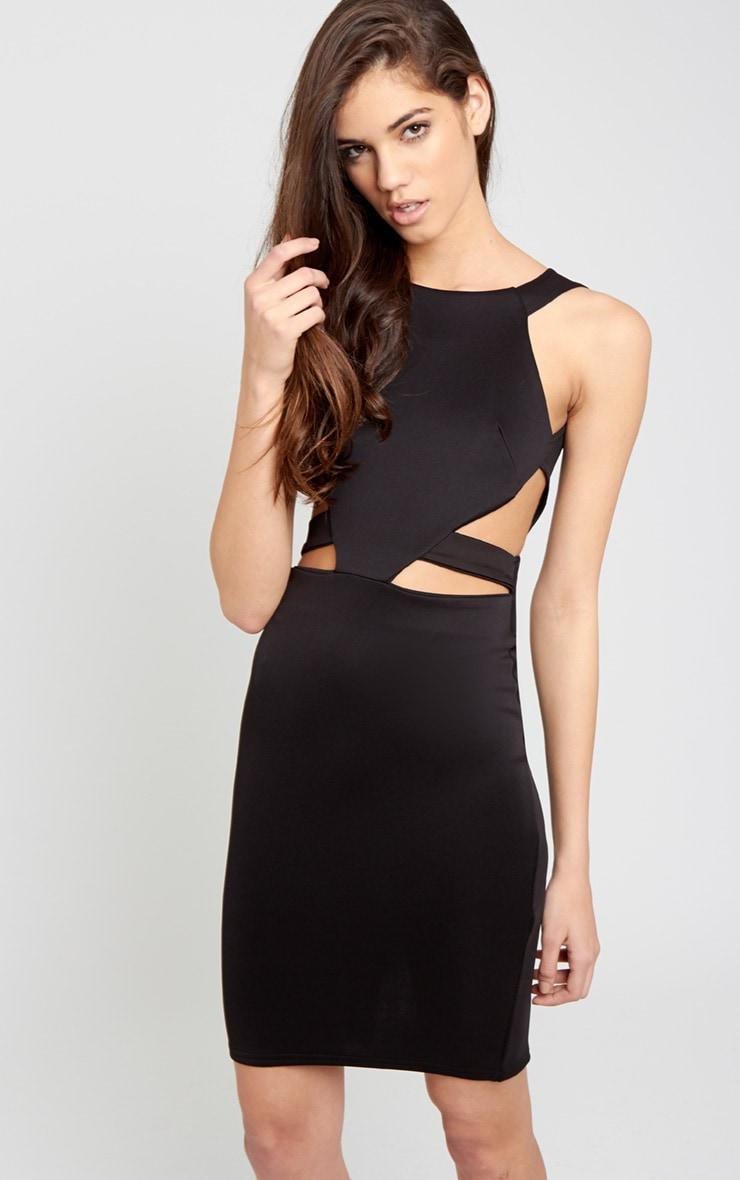 Saffron Black Cut Out Midi Dress 6
