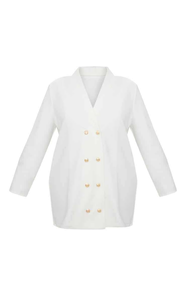 Plus White Gold Button Oversized Blazer Dress 3