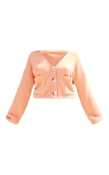 Petite Peach Fluffy Knitted Slouchy Cardigan 5