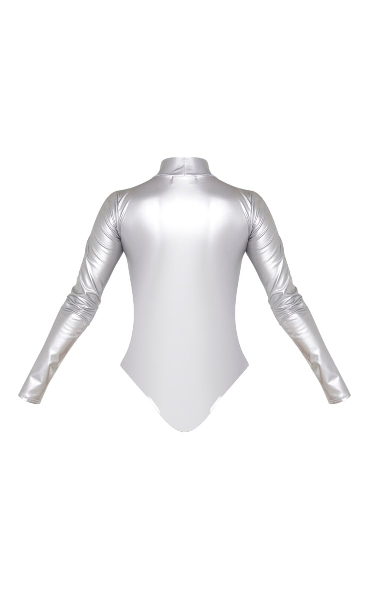 Silver Metallic High Neck Long Sleeve Bodysuit 6