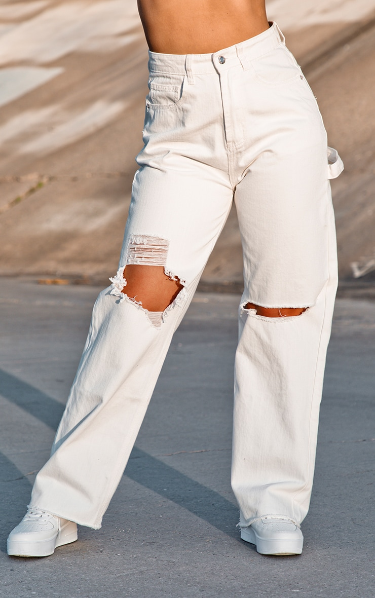 White Cargo Distressed Baggy Jeans 2