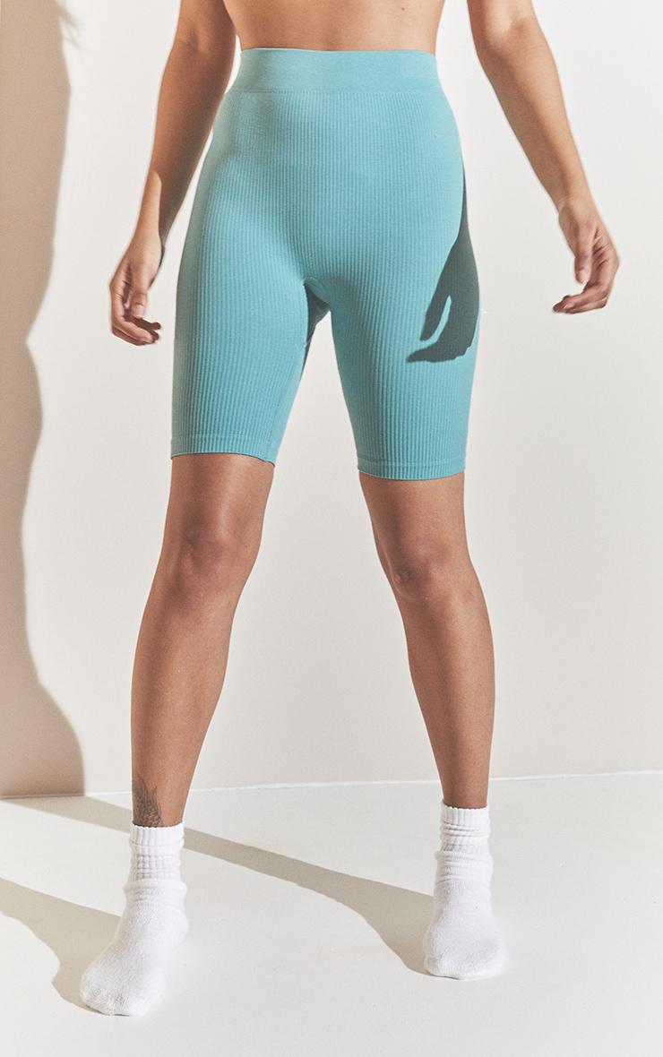 Washed Green Structured Contour Rib Bike Shorts 2