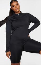 Plus Black Long Sleeve Zip Up Sports Top 1