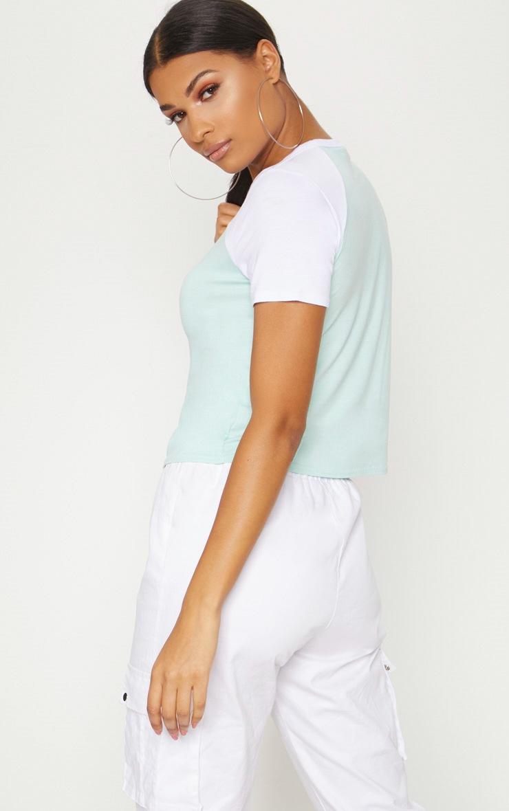 Mint Contrast Sleeve T Shirt 2