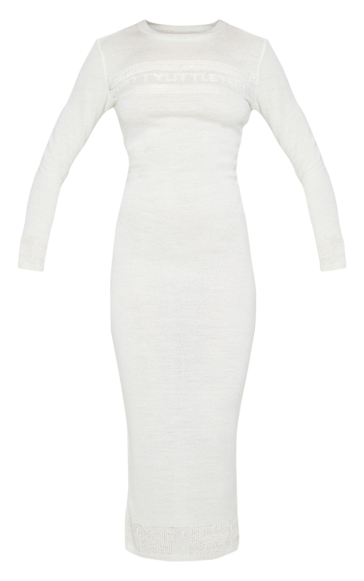 PRETTYLITTLETHING White Sheer Maxi Knitted Dress 5