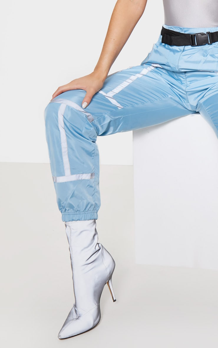 Dusty Blue Shell Reflective Tape Belt Detail Jogger 5