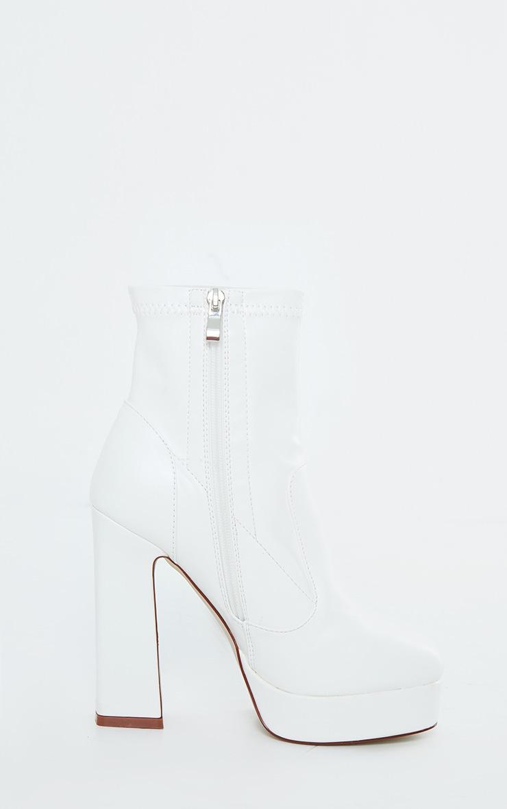 White Platform Block Heel PU Sock Boots 3