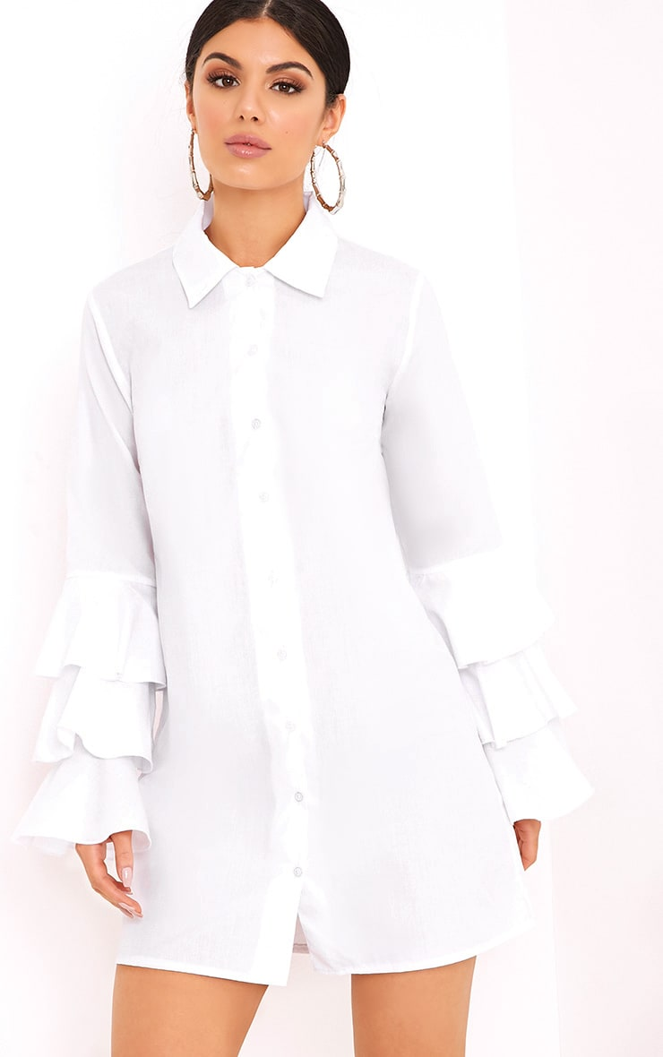 Lupeatarr Triple Frill White Sleeve Shirt Dress 1