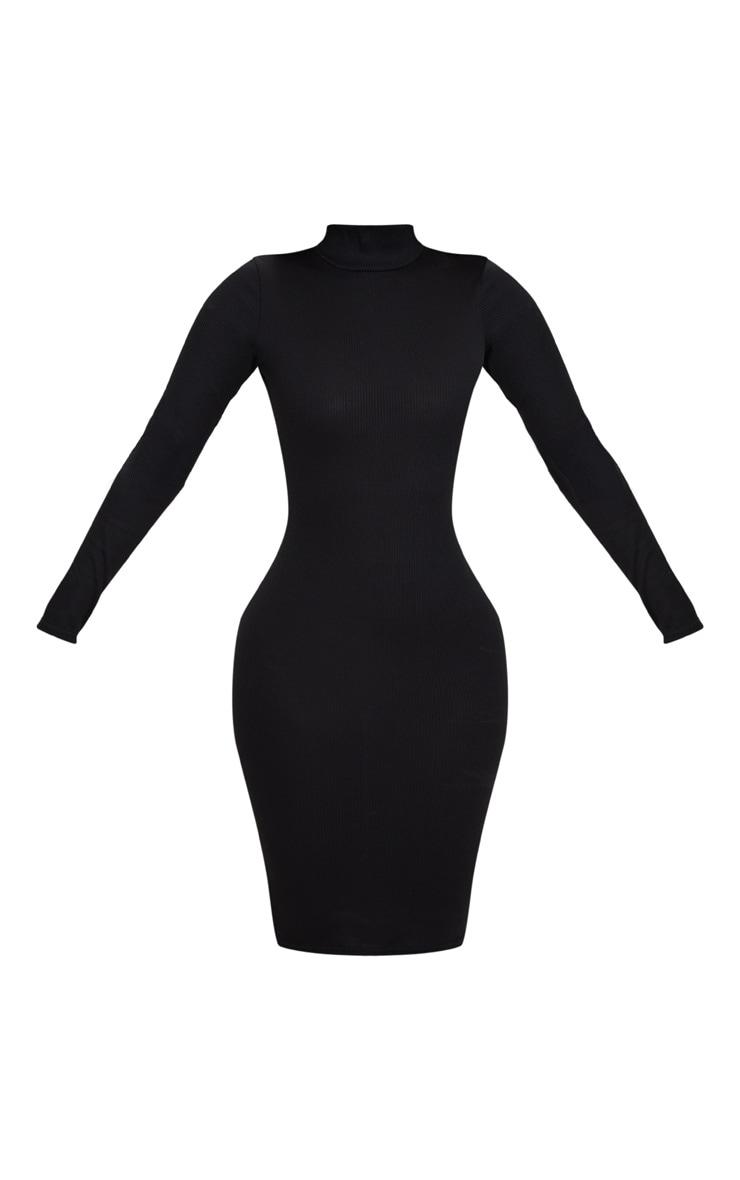 Shape Black Ribbed High Neck Midi Dress 3