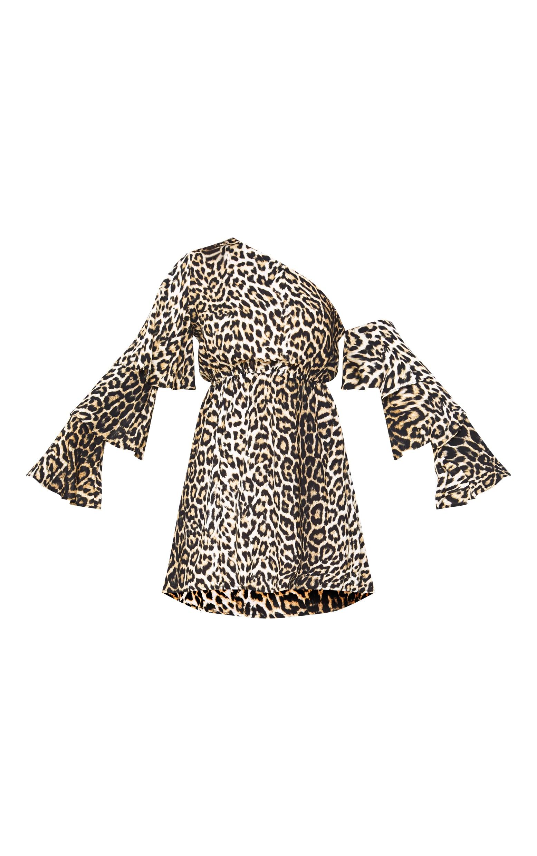 Leopard Print One Shoulder Frill Sleeve Swing Dress 3
