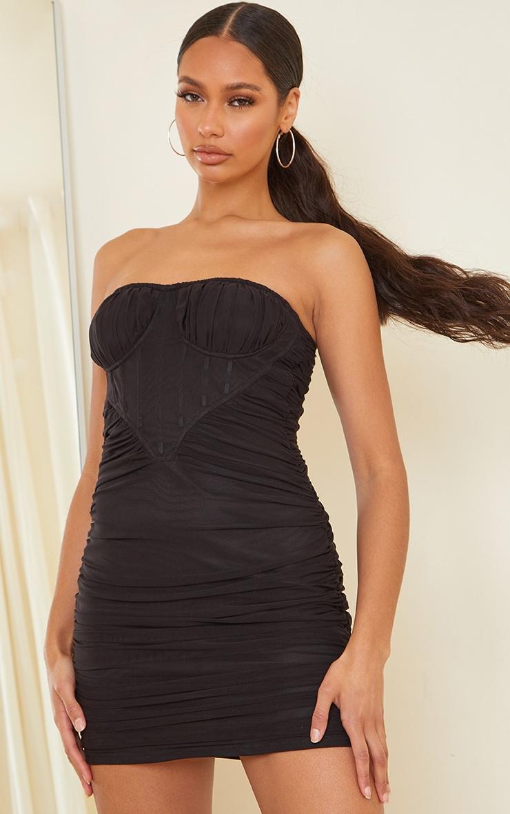 Black Chiffon Corset Detail Ruched Bandeau Bodycon Dress 1