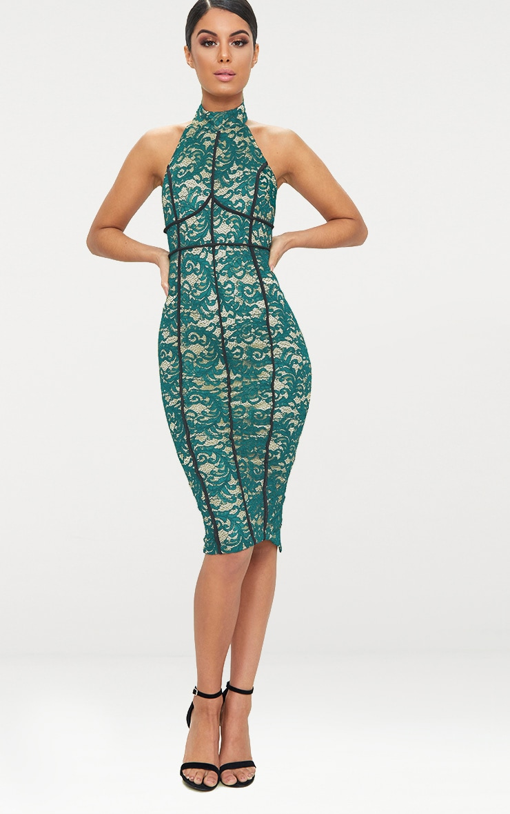 Green High Neck Backless Contrast Piping Lace Midi Dress 1