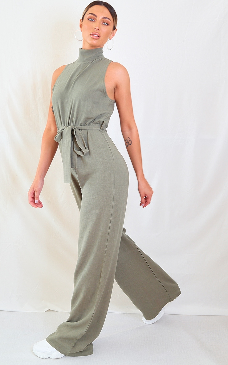 Khaki Woven High Neck Tie Waist Jumpsuit 3