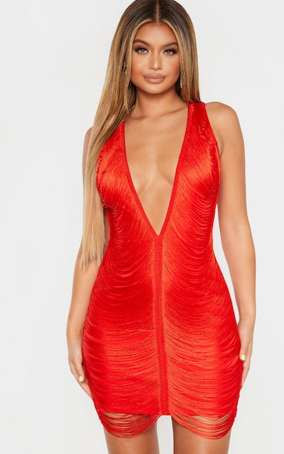 Red Extreme Plunge Tassel Bodycon Dress