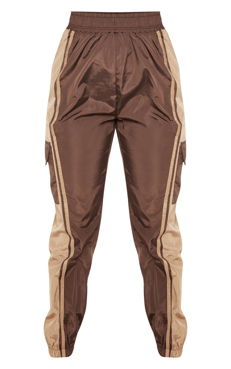 Chocolate Contrast Panel Pocket Shell Jogger 3
