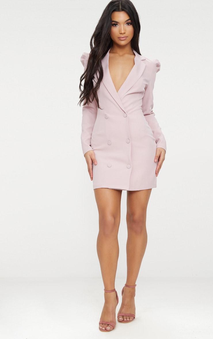 Dusty Pink Puff Sleeve Button Up Blazer Dress  1