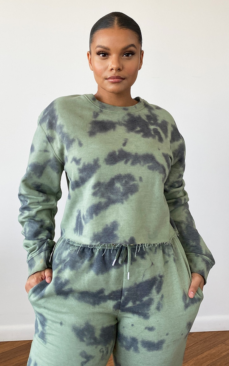 Plus Sage Green Tie Dye Cropped Sweater 1