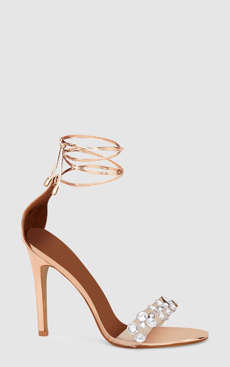 Rose Gold Diamante Strap Heeled Sandal 3