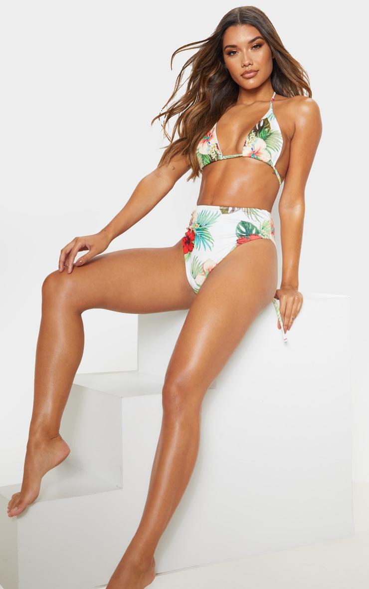 Multi Floral Triangle Bikini Top 4