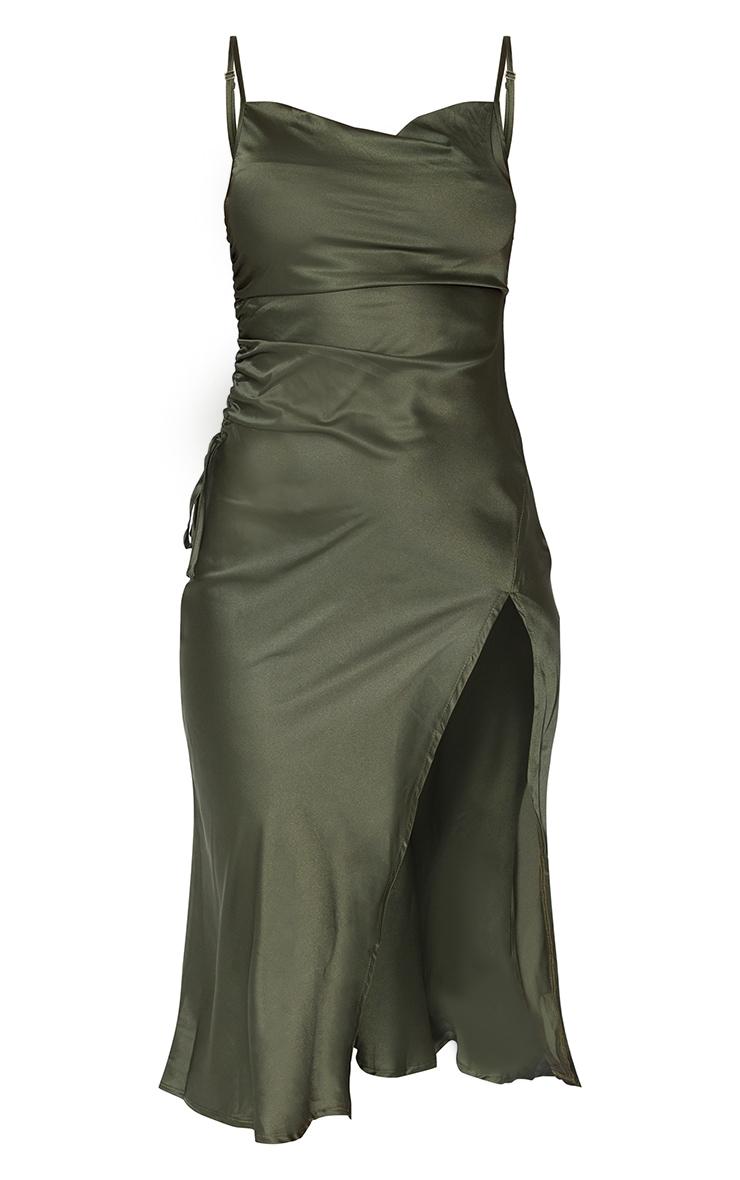Khaki Strappy Satin Gathered Side Split Hem Midi Dress 6