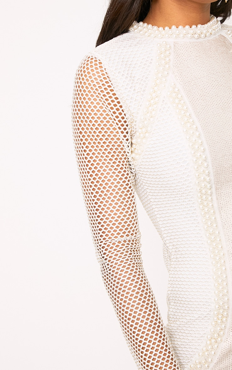 Riella White Premium Fishnet Sequin Panelled Bodycon Dress 5
