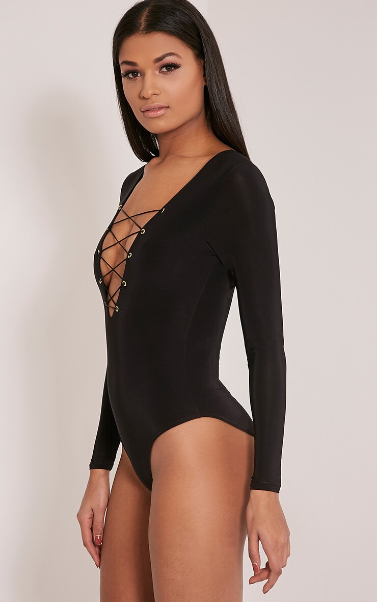Kitanna Black Lace Up Bodysuit 6