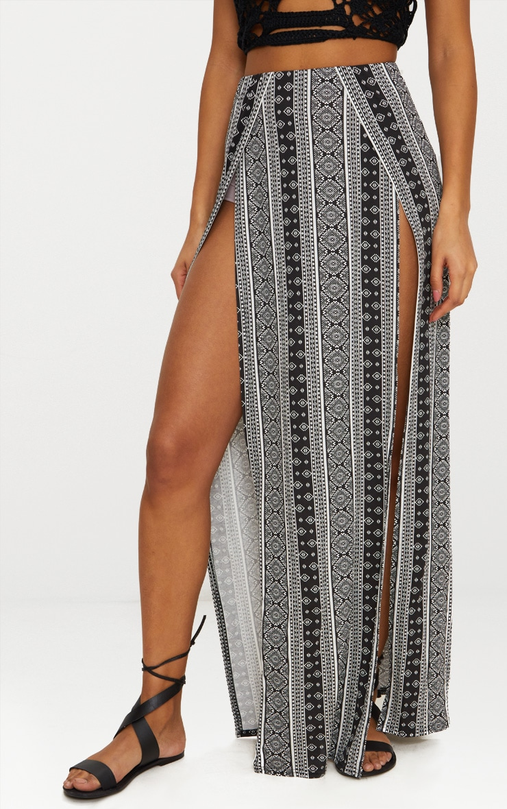Black Festival Print Double Split Maxi Skirt 2