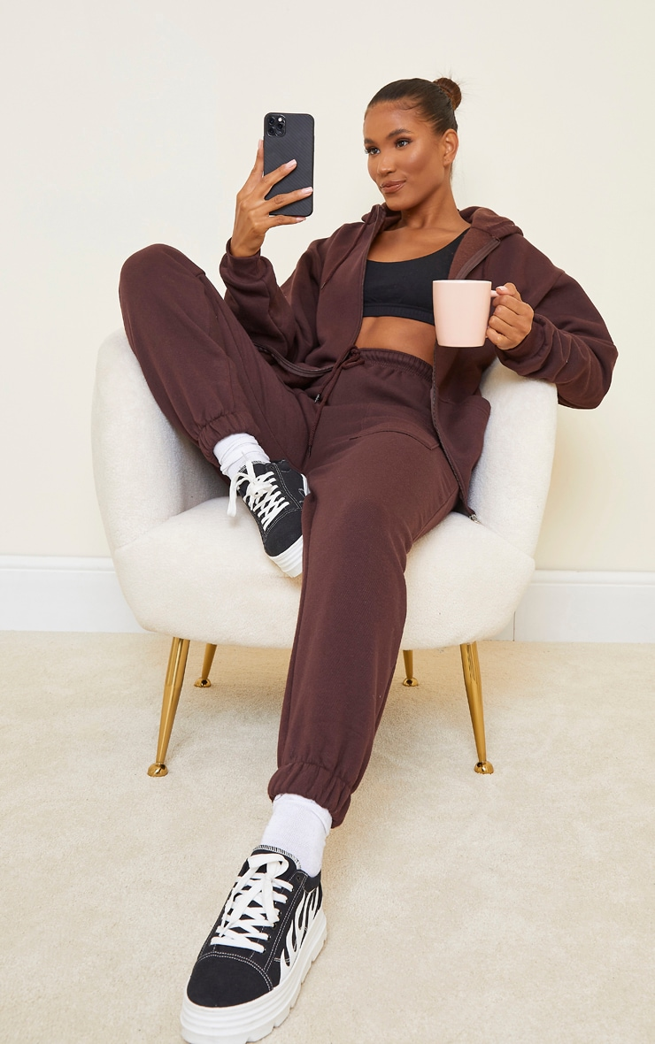 Chocolate Brown Extreme Oversized Pocket Front Zip Through Hoodie image 3