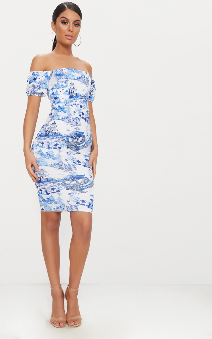 White  Porcelain Print Bardot Midi Dress  4