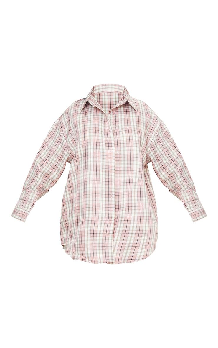 Petite Pink Oversized Long Sleeve Checked Shirt 5
