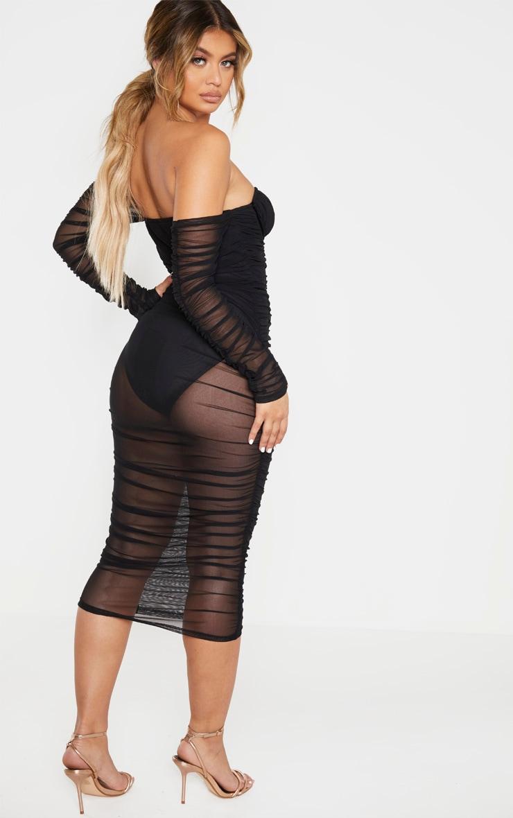 Black Mesh Ruched Velvet Binded Bardot Midi Dress 2