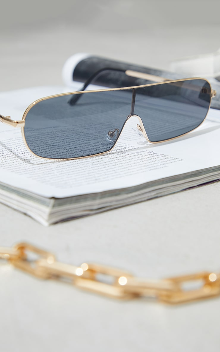 Black Lens Round Slimeline Sunglasses 2