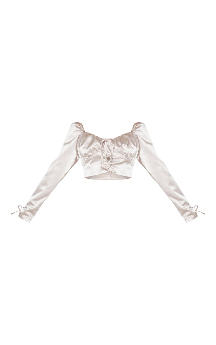 Light Grey Satin Lace Up Front Cropped Blouse 5