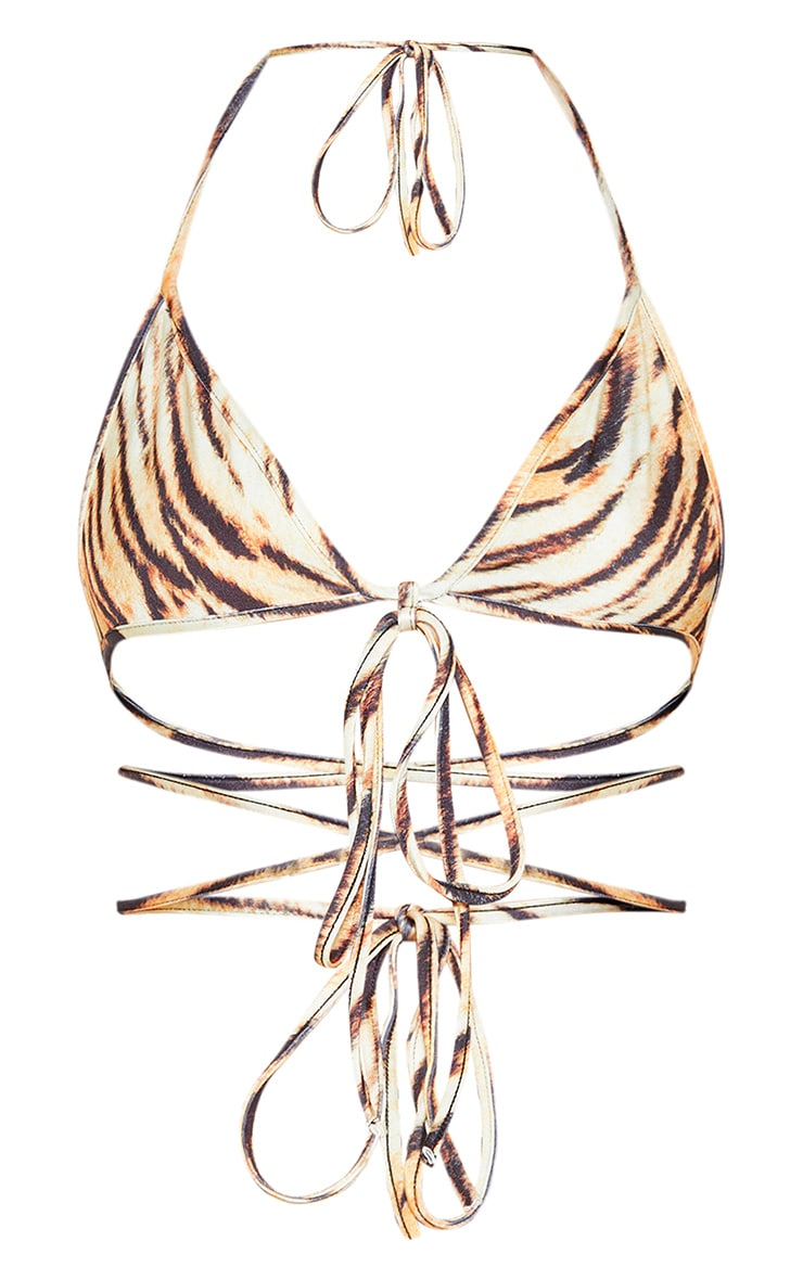 Animal Strappy Triangle Bikini Top 3