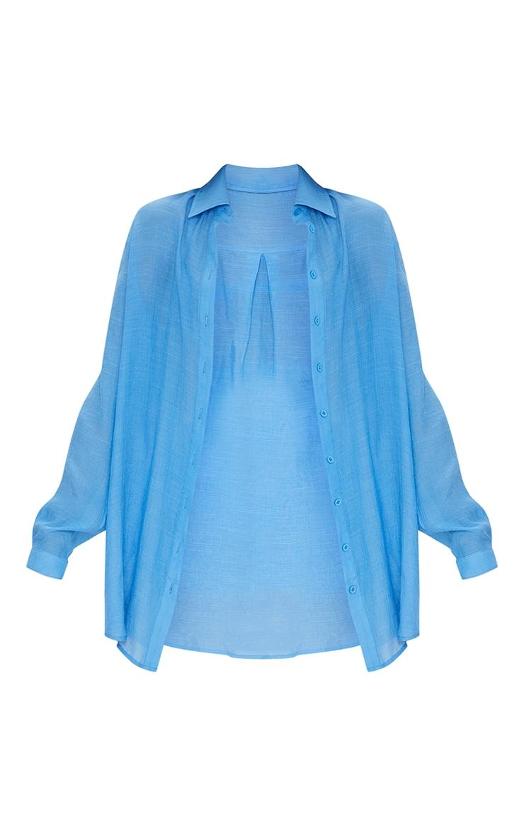 Cornflower Blue Linen Look Oversized Beach Shirt 5