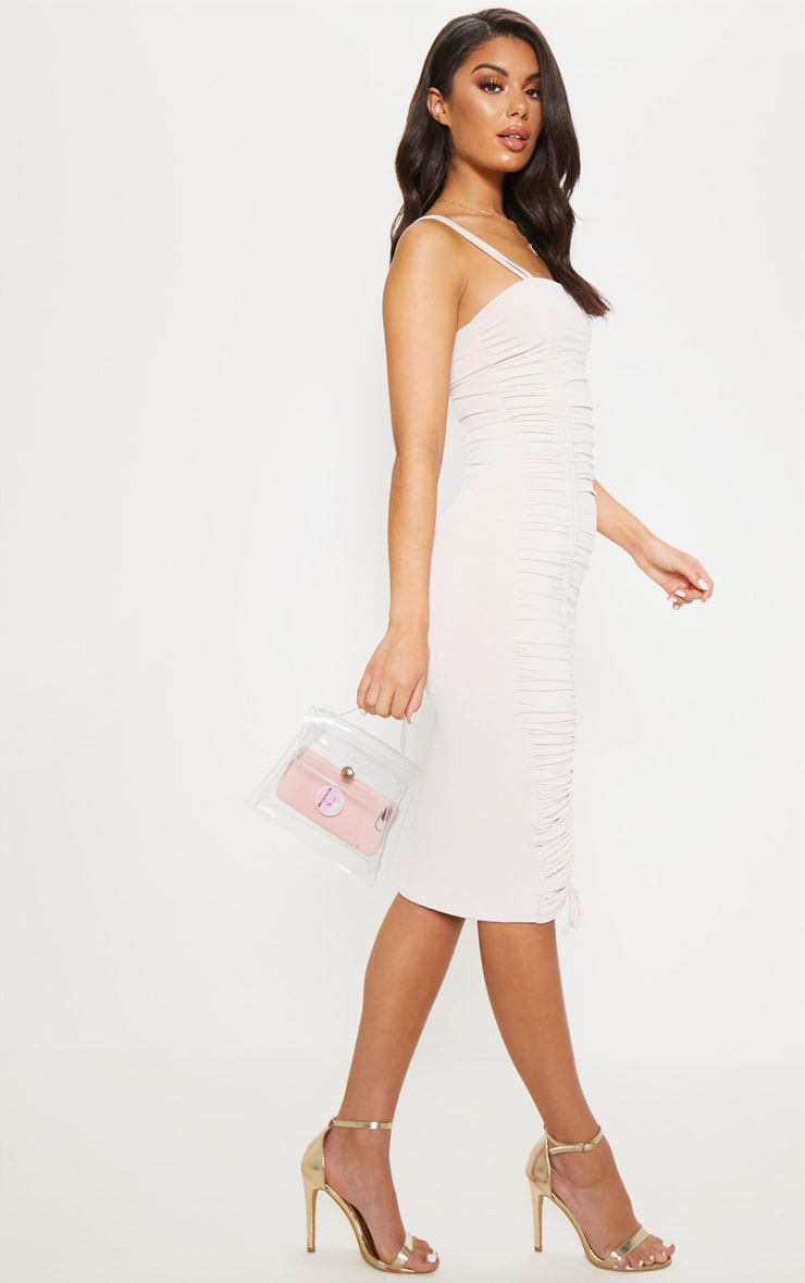 Nude Slinky Ruched Midaxi Dress 4