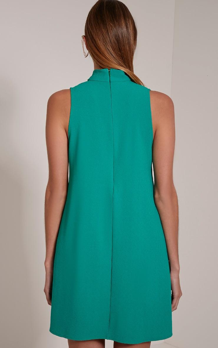 Cinder Bottle Green Choker Detail Loose Fit Dress 2