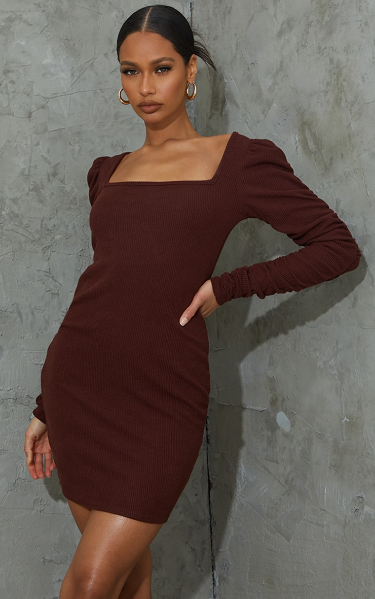 Chocolate Crinkle Rib Ruched Sleeve Square Neck Bodycon Dress 1