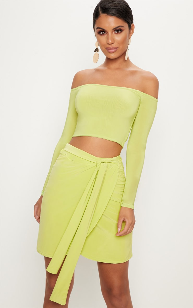 Lime Slinky Tie Waist Wrap Skirt 1