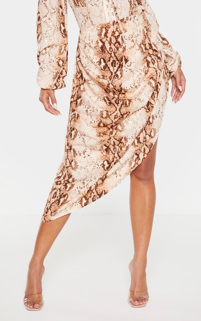 Brown Snake Ruched Side Midi Skirt