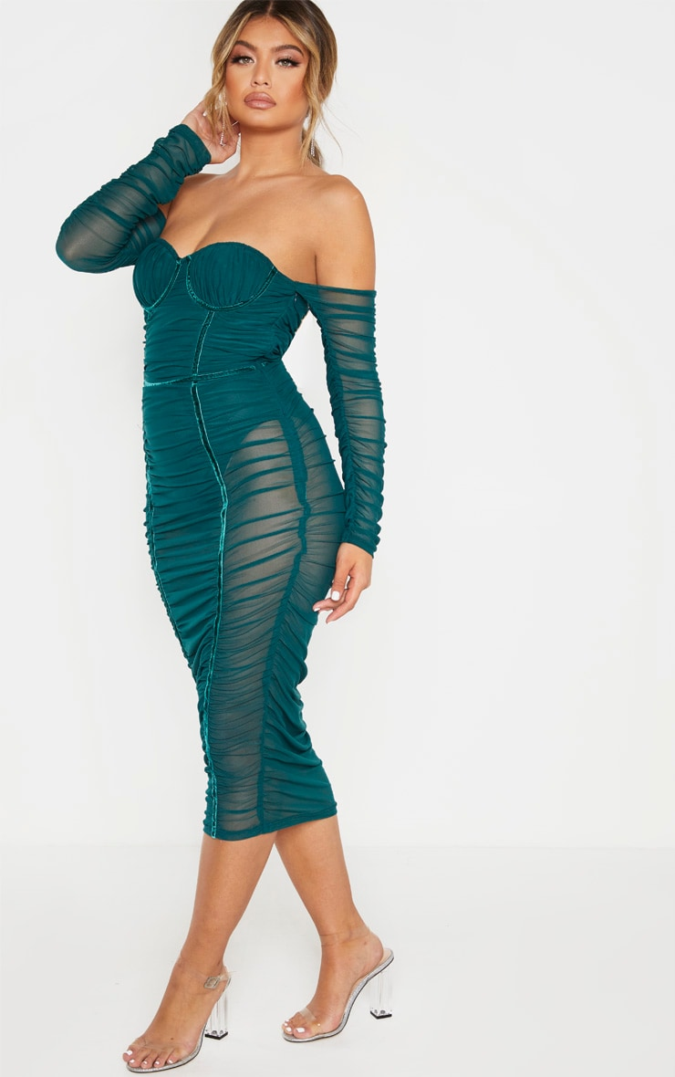Jasper Green Mesh Ruched Velvet Binded Bardot Midi Dress  4