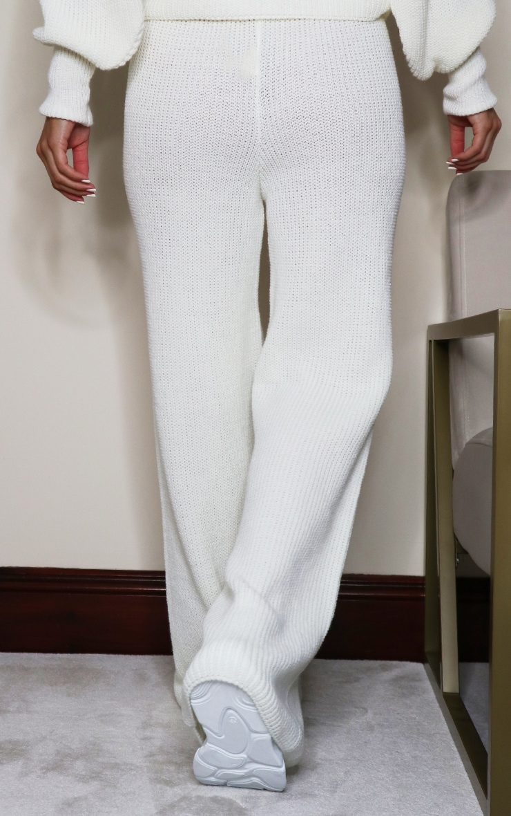 Cream Wide Leg Ribbed Knitted Pants 3