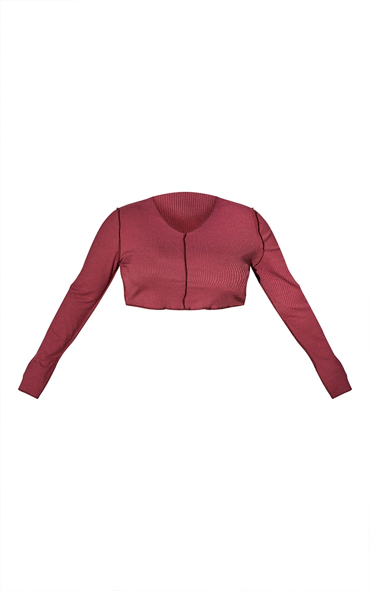 RENEW Plus Red Split Sleeve Seam Detail Crop Top 5