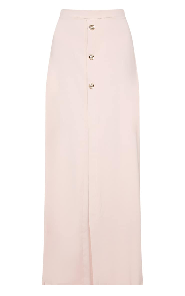 Blush Satin Button Front Maxi Skirt 3