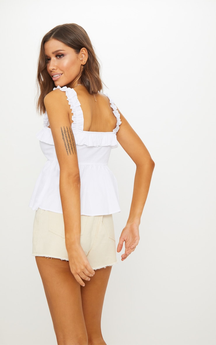 White Frill Detail Key Hole Cami Blouse  2