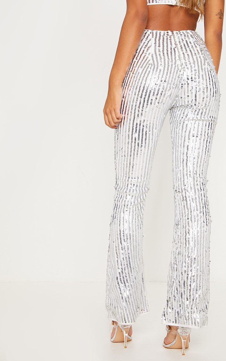 Silver Sequin High Waisted Flare Trousers 5